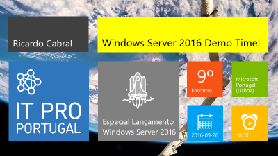 Windows Server 2016 Demo Time imagem do slide