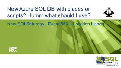 New Azure SQL DB with blades or scripts? imagem do slide